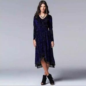 Vera Wang Blue Burn out Blue Velvet Dress. Size L